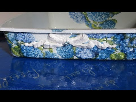How to decoupage on Plastic /new kitty litter box