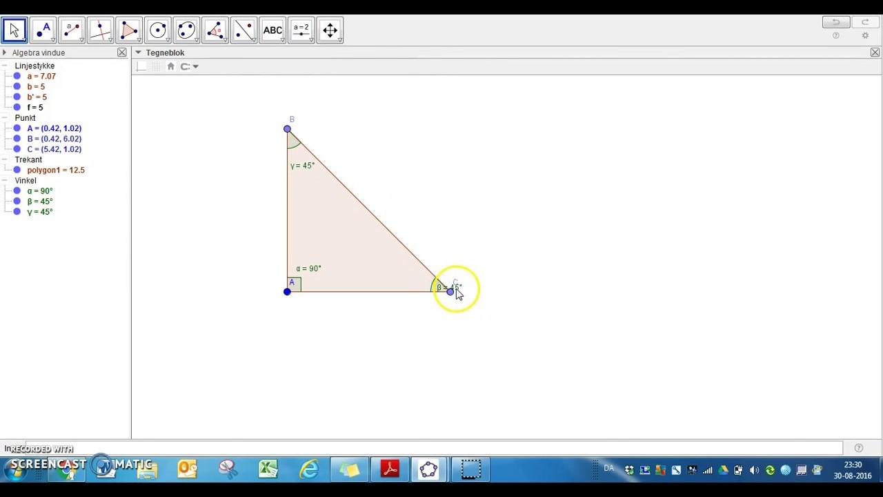En retvinklet trekant i Geogebra