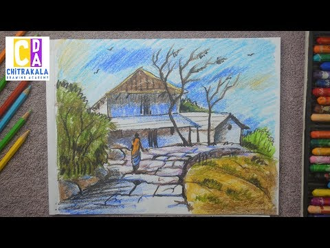 How to draw a landscape | Nature scenery Drawing – Easy step by step kids drawing