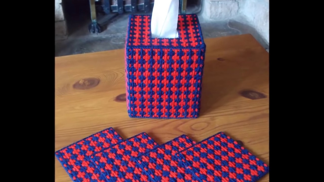 How To Make Plastic Canvas Tissue Box Cover Amp Coasters