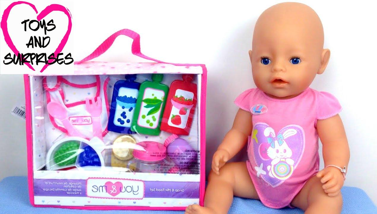 Видео с Куклой Пупсик baby born набор еды игрушки для девочек играем