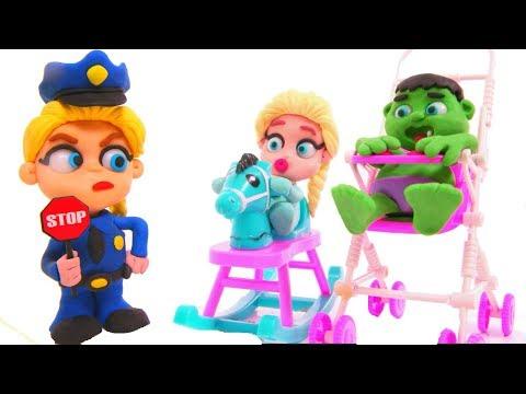 FROZEN ELSA POLICE STOPS SUPERHERO BABIES ❤ Hulk & Frozen Elsa Play Doh Cartoons For Kids