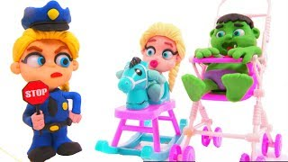 FROZEN ELSA POLICE STOPS SUPERHERO BABIES ❤ Hulk & Frozen Elsa Play Doh Cartoons For Kids