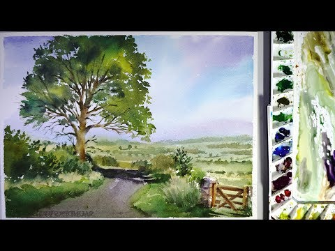 Watercolor landscape painting :a road across a field