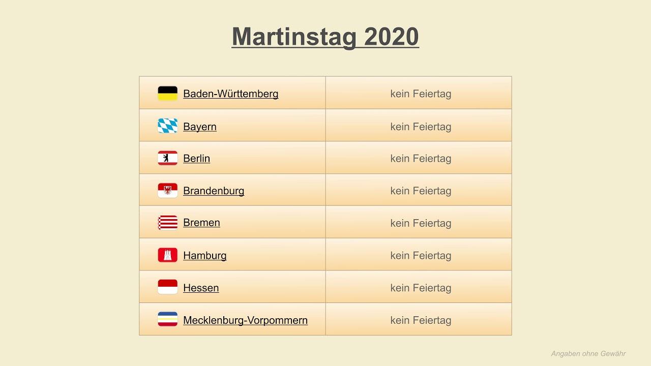 Martinstag 2020 Datum Festtage Deutschland 2020 Youtube