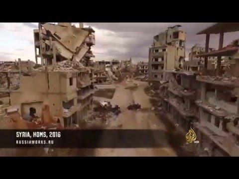 خراب ودمار هائل حلا بمدينة حمص في صور بثتها مواقع إخبارية روسية