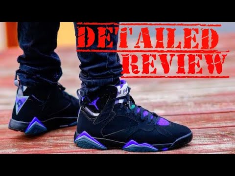 d2c72059e8e Air Jordan 7 Ray Allen PE Black Purple Bucks Retro Sneaker Detailed Review