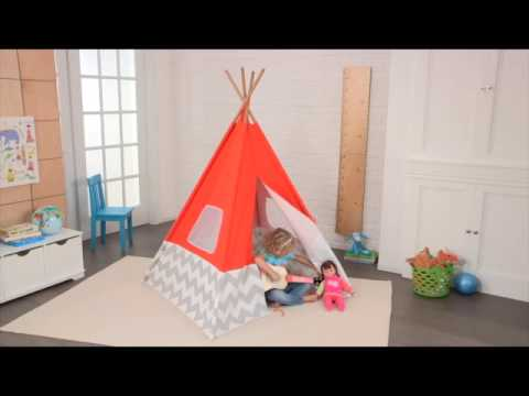 00213 kidkraft kinderzelt spiel tipi orange youtube. Black Bedroom Furniture Sets. Home Design Ideas