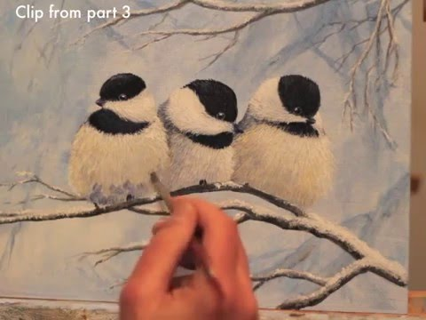 Winter Chickadees Acrylic Painting Demonstration Preview
