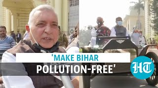 Watch: JDU MLCs reach Bihar Assembly in 'pollution-free' vintage car