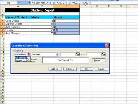 How to Use conditional formatting for a student grading