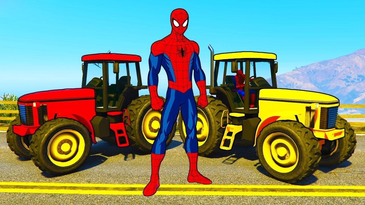 Dr les tracteurs pour enfants et voitures avec spiderman dessin anim avec super h ros youtube - Dessin anime avec tracteur ...