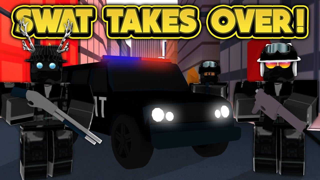Swat Team Takes Over Jailbreak Roblox Jailbreak Youtube