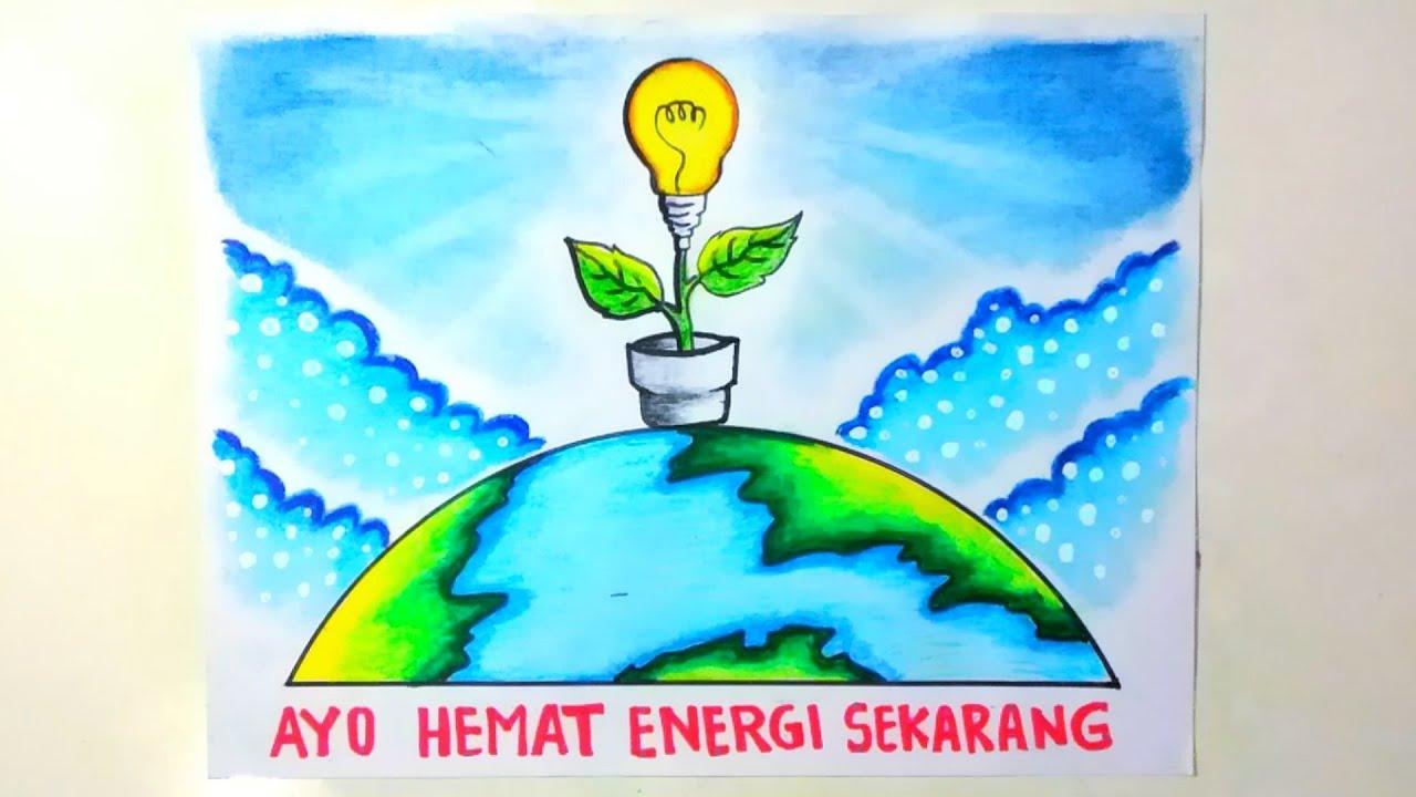 Cara menggambar poster hemat energi listrik