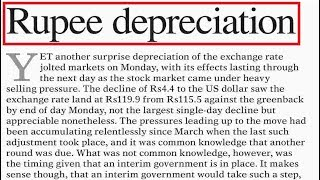 Rupee Depreciation- Economy of Pakistan - Current affairs 2018