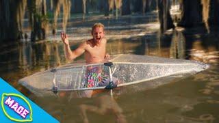 We Made a Kayak Out of Saran Wrap!!