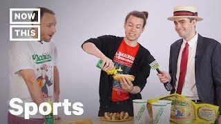 Joey Chestnut Coaches NowThis Employees in Hot Dog Contest | NowThis