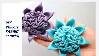 How to make fabric flower satin velvet/ fabric brooch patchwork/ old cloth reuse ideas/fabric flower