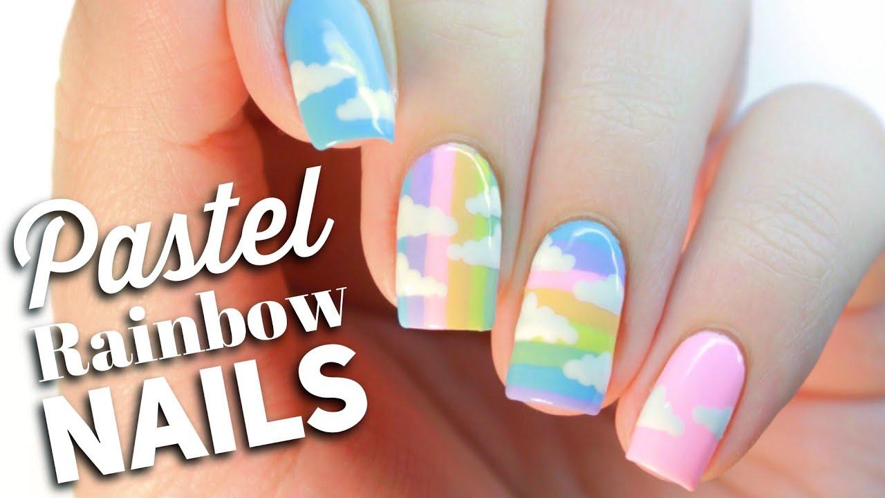 Pastel Rainbow Nail Art Design - YouTube