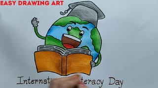 how to draw international literacy day poster || world literacy day drawing