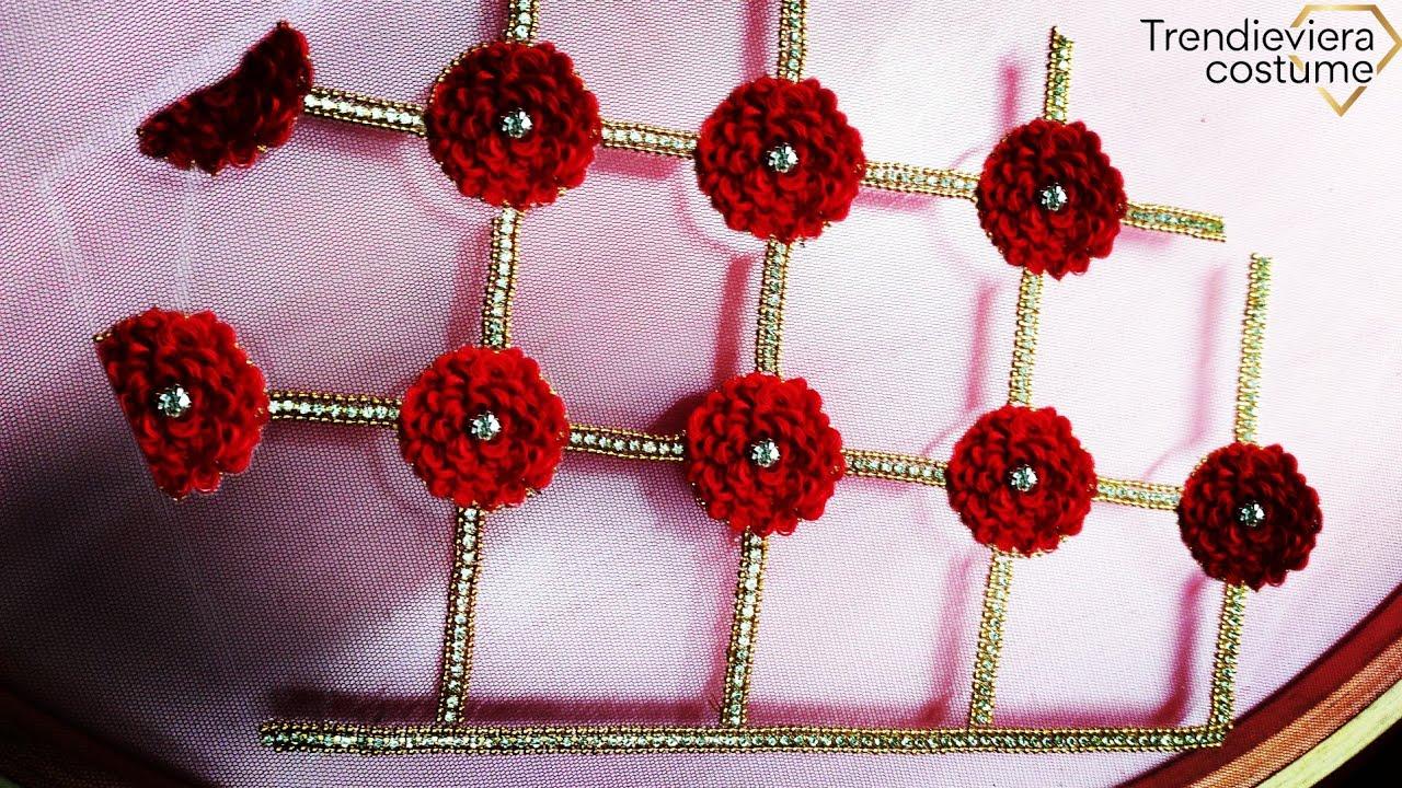 Beautiful flower design on  net cloth using normal needle