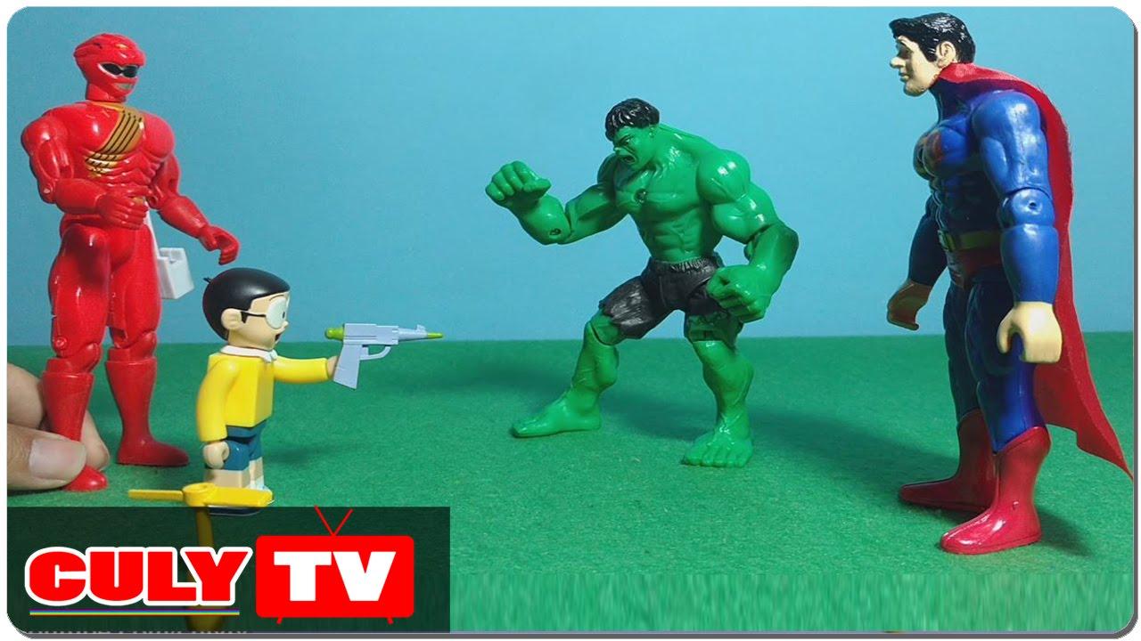 Nobita giúp siêu nhân gao đỏ bắt superman và hulk vượt ngục - đồ chơi  doremon hài trẻ em - YouTube