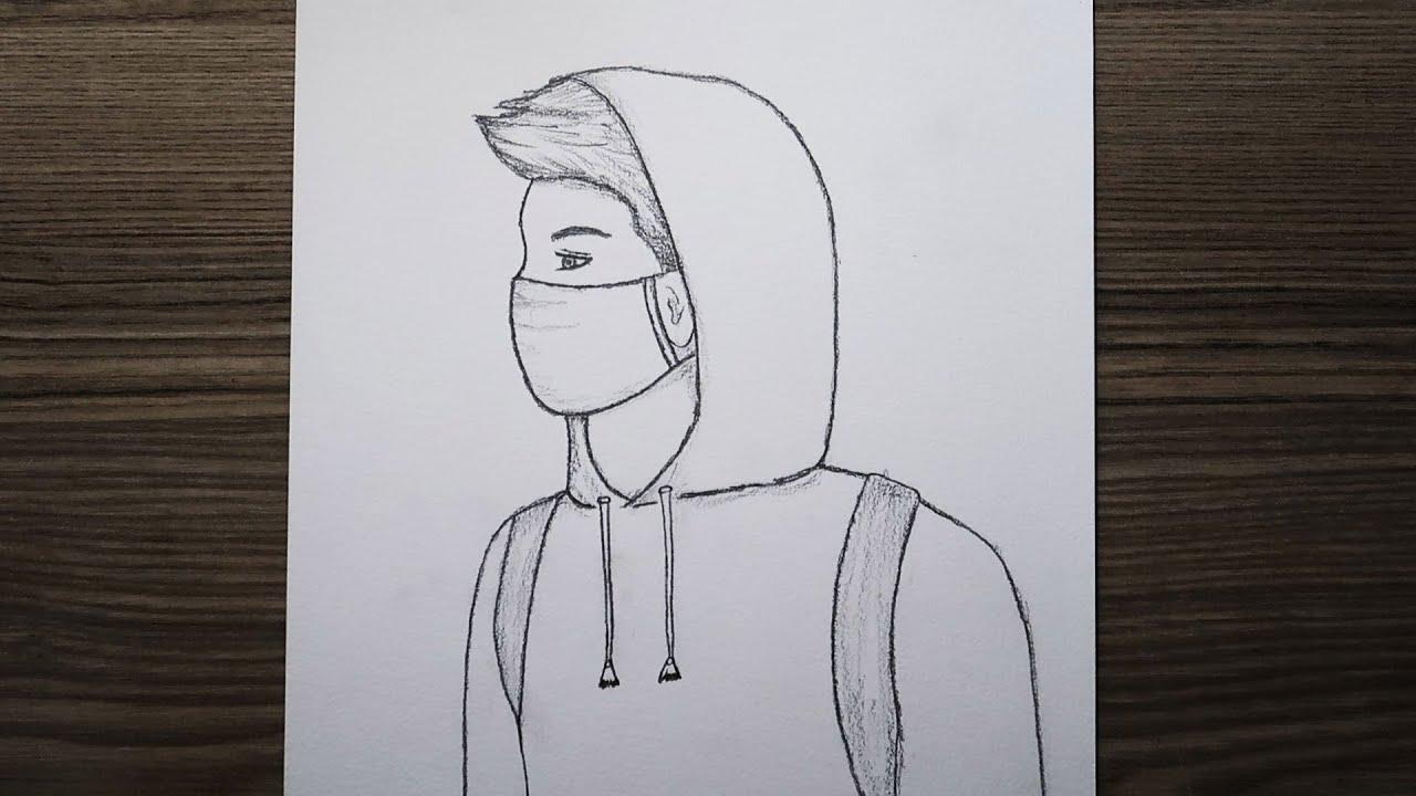 Kolay Yoldan Maskeli Erkek Çizimi / How to draw a man in a mask