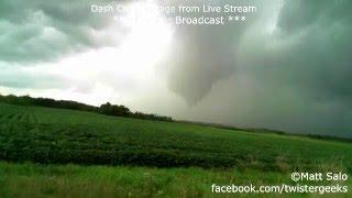 Benton County, MN Tornado - Dash Cam / Live Stream Recording - 8/24/2014