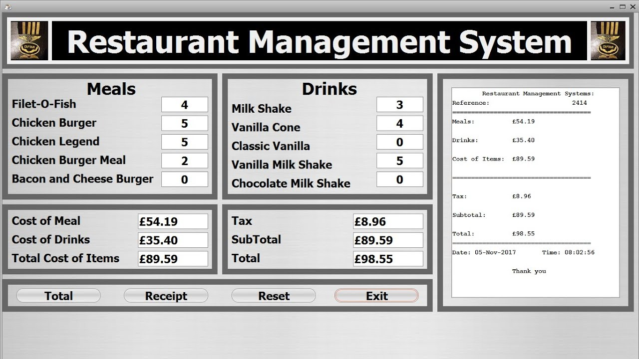 Java NetBeans Object Oriented Project of Restaurant Management System -  Part 1 of 2