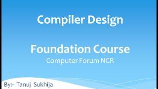 B Tech Compiler Design Unit 1 Video 1:
