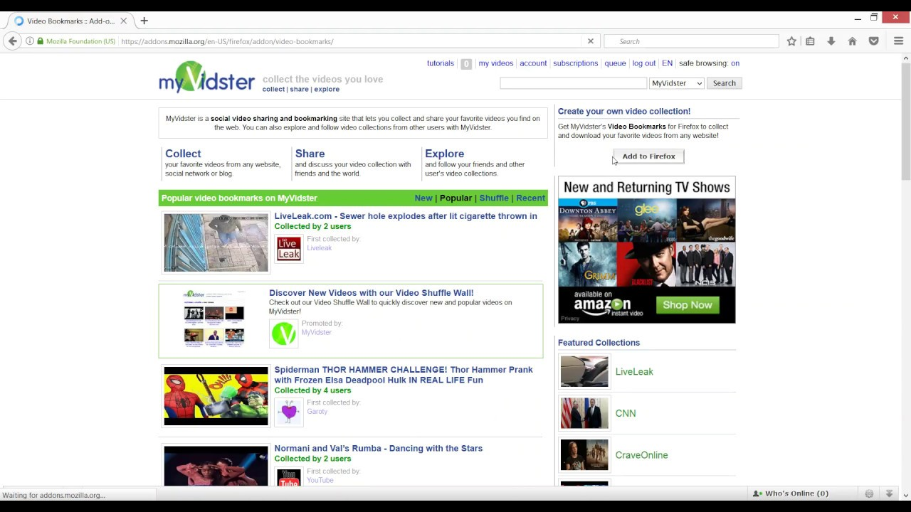 How To Install The Myvidsters Video Bookmarks For Firefox