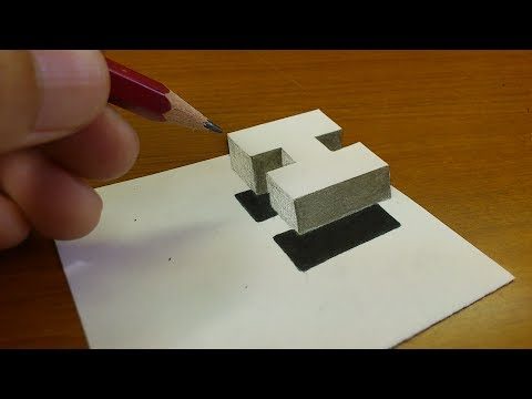 """Very Easy!! How To Drawing 3D Floating Letter """"H""""  - Anamorphic Illusion - 3D Trick Art On Paper"""