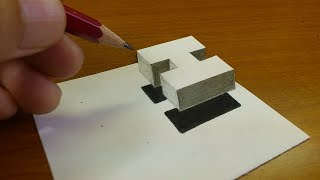 "Very Easy!! How To Drawing 3D Floating Letter ""H""  - Anamorphic Illusion - 3D Trick Art on paper"