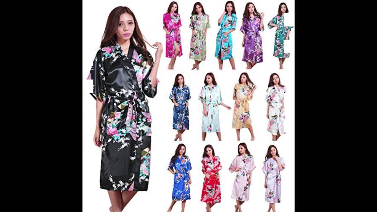aea945381e FUNOC Lady Satin Kimono Peacock Dressing Gown Long Bath Robe Night Dress  Sleepwear (Navy Blue) - YouTube