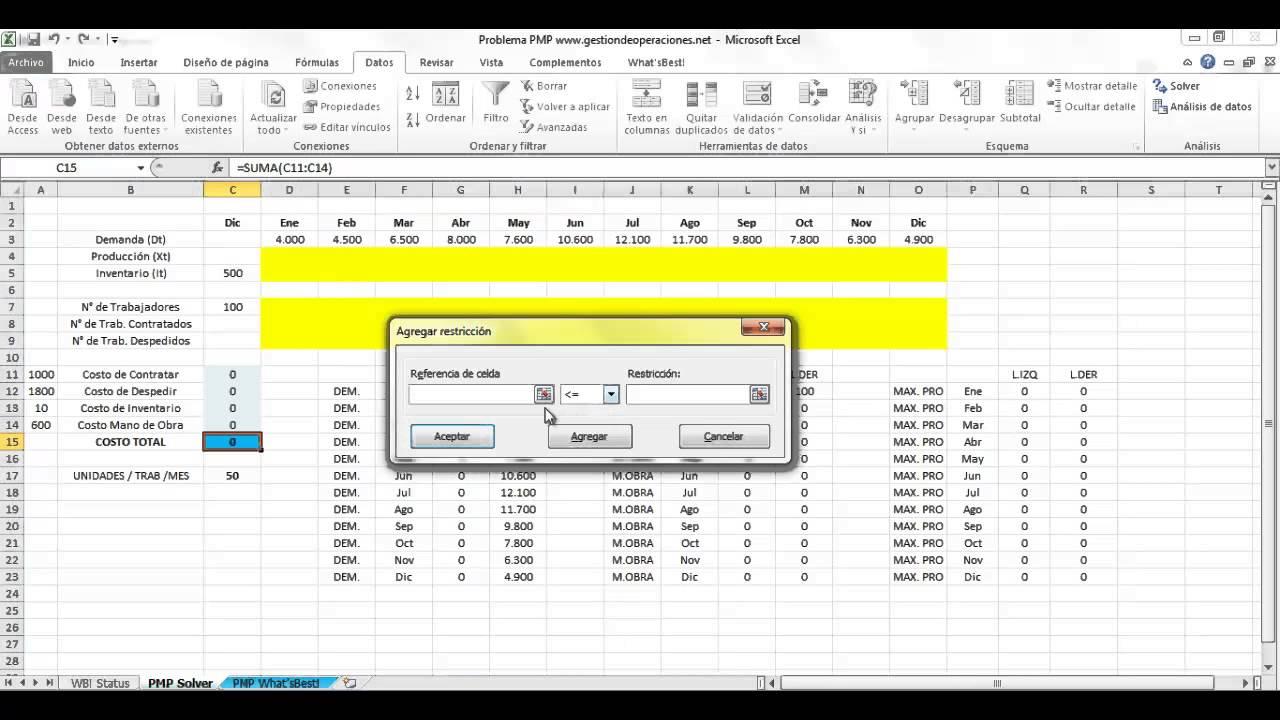 Plan Maestro de la Producción (PMP) resuelto con Solver de Excel ...