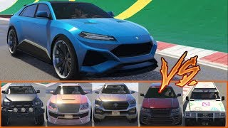 GTA 5 - Top Speed Drag Race (Pegassi Toros vs Contender, Huntley S, XLS, Baller LE, Patriot Stretch)