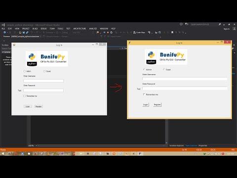 C# to Python(TKinter) Coverter (Visual Studio) Using BunifuPy Library