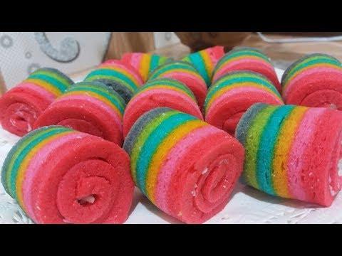 Cara Membuat Rainbow Cake Gulung Kue Pelangi Aka Videos