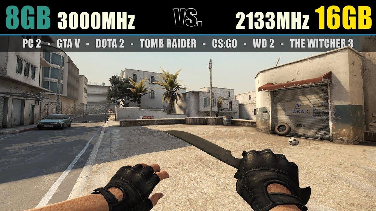 8GB RAM 3000MHz vs  16GB RAM 2133MHz (Test in 7 Games)