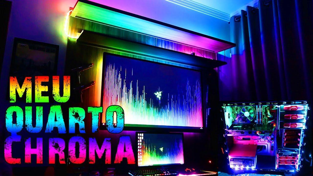 MEU QUARTO INTEIRO CHROMA COM FITA DE LED 6803 RGB  SETUP