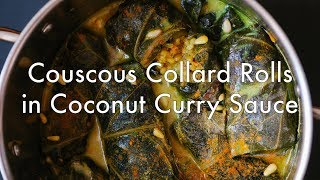 Couscous Collard Rolls in Coconut Curry Sauce from Simply Vibrant