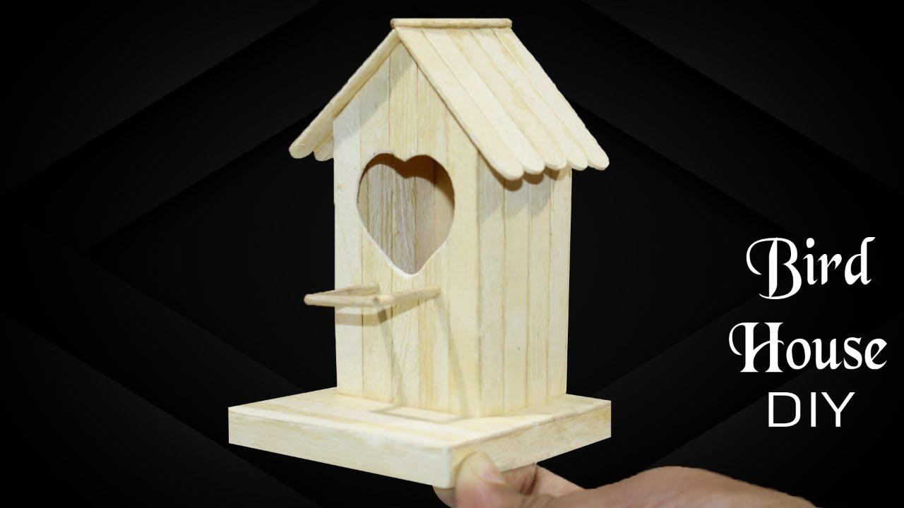 How to make a Easy Bird house - DIY Popsicle Stick birdhouse idea for Natural Bird House Designs on cardinal bird house designs, different bird house designs, cute bird house designs, wooden bird house designs, homemade bird house designs, easy bird house designs,