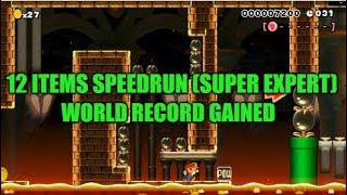 Awesome Super Mario Maker Speedrun Level Created Using 12 Items! (World Record Gained/No Commentary)
