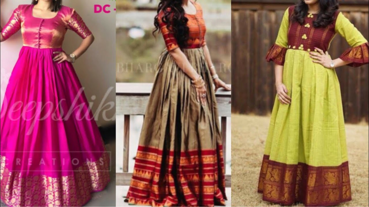 Silk gown design ideas from old silk saree/beautiful simple stylish ...