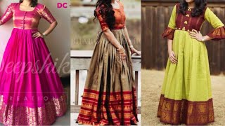Silk gown design ideas from old silk saree/beautiful simple stylish long gown design ideas