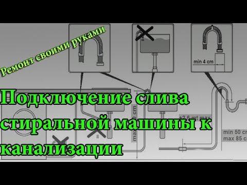 Подключение слива стиральной машины к канализации ,какие бывают проблемы и ошибки