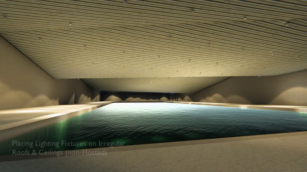 Swimming Pool - Place Lights on irregular roofs & ceilings