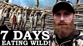 SMOKING BONY FISH in PRIMITIVE HUT (Meat Preservation)! | 100% WILD Food SURVIVAL Challenge