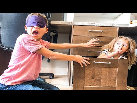 Blindfold Hide & Seek in Dad's OFFICE