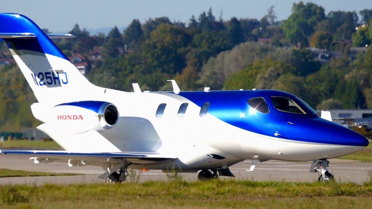 FIRST VISIT !!! HondaJet N25HJ Take-Off at Bern Airport - YouTube